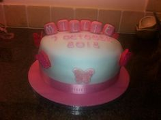 Millie's Christening Cake - Sponge with buttercream and Jam middle! Cake Creations, Christening, Middle, Cakes, Desserts, Food, Tailgate Desserts, Deserts, Essen