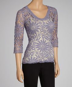 Take a look at this Lavender Sheer Floral Lace Crocheted Top on zulily today!