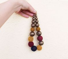 Crochet bead necklacewooden beads gold mustard by laviniasboutique