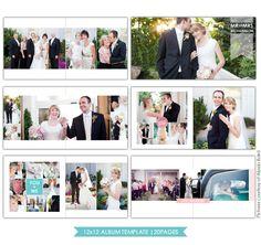 Clean Style | 12x12 Wedding Album template | Photoshop templates for photographers by Birdesign