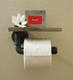Do you position the toilet tissue over or under the roll? No matter, here are the various types of toilet paper holders you could choose for the bathroom. A roll of toilet paper . Read Best Various Sorts Of Toilet Tissue Holders Washrooms Ideas Galvanized Pipe, Industrial Bathroom, Industrial Pipe, Industrial Design, Pipe Furniture, Home Projects, Toilet Paper, Home Improvement, Hanger