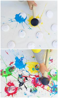 "This ""paint splat"" activity is perfect when your kids want to make messy & fun art!"