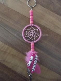 Pink Dream Catcher Keyring/Bag Dangler with lettering added to the feather drop. Angel Wing charms added to the bottom of the lettering. Other colours/charms available Jewelery, Crafts For Kids, Feather, Wings, Charmed, Colours, Lettering, Embroidery, Dream Catchers