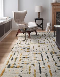This rug was designed to capture the image of sound rippling over a still body of water. The intriguing combination is texturally complex and visually stunning. This is a random pattern and no two carpet tiles are alike. The pattern will not align.   Lilting - Marigold Carpet Decor, Diy Carpet, Wall Carpet, Modern Carpet, Bedroom Carpet, Living Room Carpet, Rugs On Carpet, Cheap Carpet, Stair Carpet