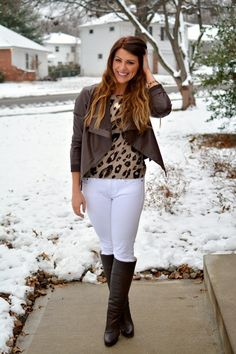 ashley from lsr, white jcrew jeans, tall brown boots, brown leather jacket, leopard sweater