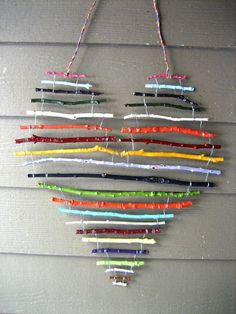 art for the cottage porch - painted sticks wired together and hung with electrical wire Make the most of the falling leaves with this collection of simple fall crafts for kids! Kids Crafts, Fall Crafts For Kids, Crafts To Do, Diy For Kids, Craft Projects, Arts And Crafts, Craft Ideas, Decor Crafts, Twig Crafts