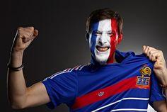 French Football soccer fan face paint from France photo by Monte Isom #worldcupfan #FranceFootballFan #frenchsoccerfan