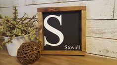 Initial/last name wood framed sign decor by HomeofTreChic on Etsy https://www.etsy.com/listing/483734991/initiallast-name-wood-framed-sign-decor