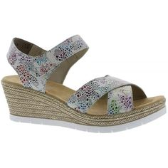 58485c9b Rieker 61943, a ladies stylish wedge heel slip on sandal with velcro side  straps and