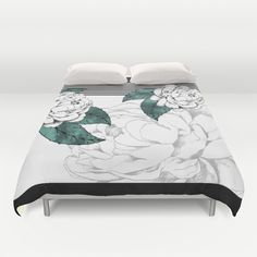 Stripes and flowers Duvet Cover by Cindy Lepage - $99.00