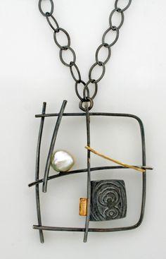 NK-87: Graffiti necklace by Sydney Lynch: think steel soldering