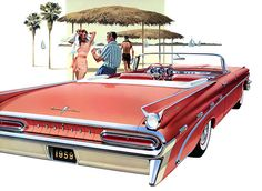 1959 Pontiac Bonneville Convertible - the art work on these advertisements are just as beautiful as the design on the cars