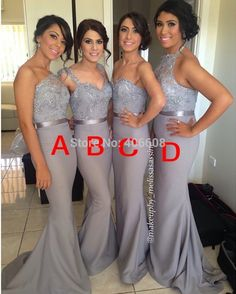 Find More Bridesmaid Dresses Information about 2015 Custom Made Elegant Mermaid Bridesmaid Dresses Silver Grey Chiffon Lace Beading Maid Of Honor Dress,High Quality Bridesmaid Dresses from Forever Lover Bridal on Aliexpress.com