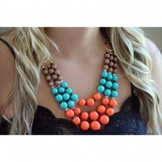 Angelia's Brown, Turquoise & Coral Orange Beaded Layered Necklace Set - Only $38.95 — Fantasy Jewelry Box