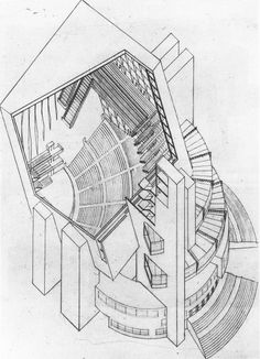 P. Smolenskaia, Diploma project on the theme %22House of the Unions%22 (for 10,000 people), 1928 studio of Nikolai Ladovskii, cutaway view