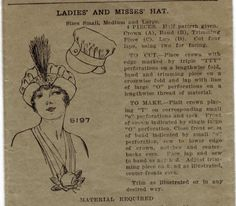 1910s Vintage Sewing Pattern Pictorial Review 5197 Teens Edwardian Plumed Hat Downton Abbey. $150,00, via Etsy.