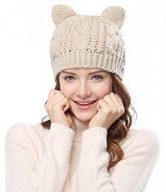 Women Fashion Braided Knit Cap Cat Ear Crochet Hat Winter Warm Beanie Beige Gift