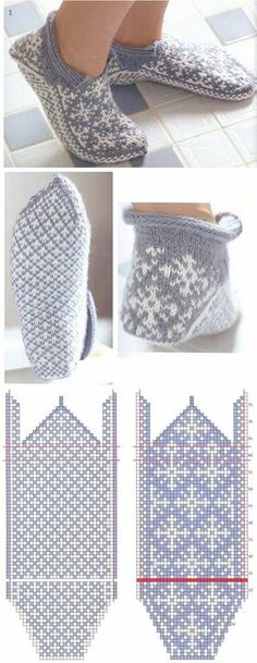 vяzаnie noskov s mыskа - colourwork slippers knitting pattern - strikking Knitting Charts, Knitting Stitches, Knitting Patterns Free, Free Knitting, Crochet Patterns, Start Knitting, Knitting Needles, Knitted Slippers, Knit Mittens