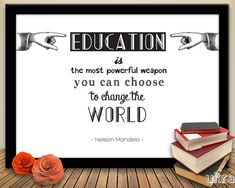 Nelson MANDELA QUOTE PrintEducation Inspirational Quote by ukra, $5.00