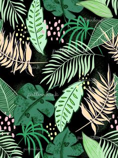 Playful Tropical by Sophie Wade Seamless Repeat Royalty-Free Stock Pattern Textile Patterns, Textiles, Textile Design, Tropical Pattern, Ethnic Print, Aboriginal Art, Plant Leaves, Royalty, Stationery
