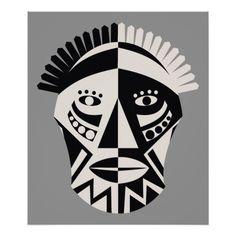 Shop African mask black grey custom print poster created by prints_posters. Contrast Art, High Contrast, African Wood Carvings, Contemporary African Art, Leather Ring, African Masks, Mask Making, Mask Design, Custom Posters