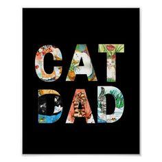 Illustrated Cat Dad Poster | Zazzle.com