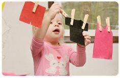 Cut clothes out of felt.  Fine motor working with clothes pins.  Color patterns/sorting.