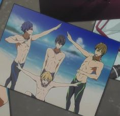 """No but this pic shows their personalities, Rei is like """"If I point my arms at 63 degrees I will radiate maximum beauty"""" Nagisa is just being the excited, dramatic center-of-attention he always is, Makoto's thinking """"Am I doing this right, haha I love my friends"""" and Haru is just in the perpetual I'd-rather-be-in-water-right-now state."""
