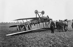 BE2c crash, 1916: casualties in training on both sides were very high, but there is a good prospect that the crew walked away from this one.