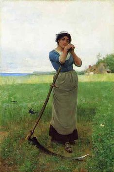 """1883 painting by Henry Bacon, titled """"Peasant Girl"""", shows a young woman leaning on a scythe. The background is an English landscape with a pair of swallows flying over the partially mowed field. Oscar Wilde, Union Army, Portraits, Portrait Images, Working Woman, Pose Reference, Figure Painting, Painting Art, American Artists"""