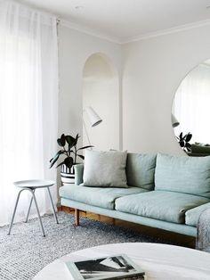 light blue mid-century modern sofa
