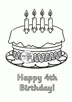 cake happy birthday party coloring pages ? nice coloring pages for ... - Blank Birthday Cake Coloring Page