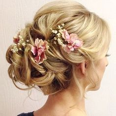 wedding updo hairstyles with pink flowers - Deer Pearl Flowers / http://www.deerpearlflowers.com/wedding-hairstyle-inspiration/wedding-updo-hairstyles-with-pink-flowers/