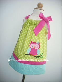 Bright Owl Girl Pillowcase Dress
