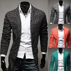 2016 New Mens Spring Korean Thin Long Sleeved Cardigan Sweater Slim Men Candy Colored