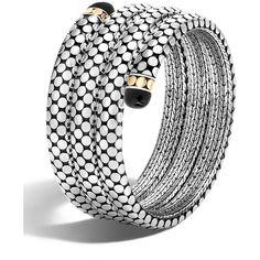 John Hardy Dot Triple-Coil Onyx Bracelet (98.315 RUB) ❤ liked on Polyvore featuring jewelry, bracelets, silver, 18 karat gold jewelry, dot jewelry, john hardy jewelry, onyx bangle and geometric jewelry