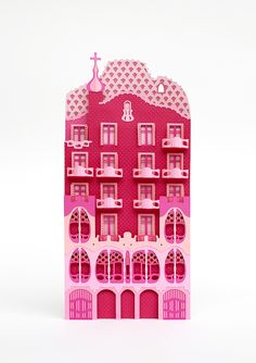 Zim and Zou Barcelona's Architectural Landmarks Crafted in Pink Paper - Freixenet - Casa Mila | Click for full post! #paper #art #ad