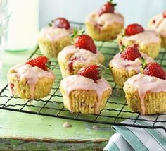 Strawberry & polenta cupcakes recipe, These cupcakes are little portions of perfection and are great to share with friends Chocolate Fudge Cupcakes, Rhubarb Sauce, Bbc Good Food Recipes, Sweet Recipes, Easy Recipes, Cereal Recipes, Chocolate Hazelnut, Convenience Food, Cupcake Recipes