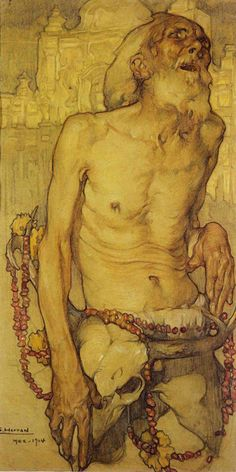 """Blindness,"" 1914 - Saturnino Herrán (1877–1918) {figurative male torso painting}"