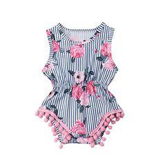 2945865ab870 Newborn Infant Baby Girl Clothes Sleeveless Romper Round Neck Elastic Waist  Bodysuit Stripe Rose Printing Jumpsuit