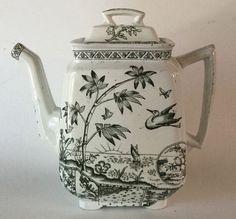 Edge Malkin & Co Aesthetic Black Transferware Teapot  Tonquin 1883 England…