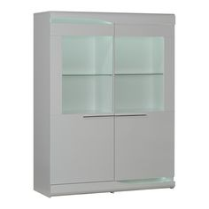 Ovio 2 Glass Door Cabinet With Led Lights, White | ACHICA