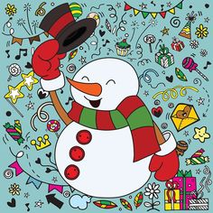 """""""snowman character"""" by Chris olivier   Redbubble Christmas Doodles, Merry Christmas, Funny Snowman, Funny Character, Kawaii, Framed Prints, Canvas Prints, Free Vector Graphics, Funny Cartoons"""