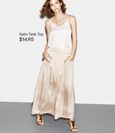 Light satin top and beige maxi skirt H&M spring summer lookbook 2014
