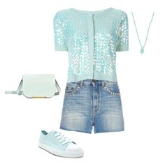 """""""SS D DENIM SHORTS, COTTON SEQUINED CARDIGAN, SNEAKERS - DENIM, AQUA"""" by laliquemurano on Polyvore featuring Forever 21, Yves Saint Laurent, Twin-Set, Gurhan and Lancel"""