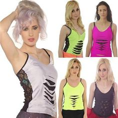 Neon strappy #slashed lace vest top  gothic #alternative tutu 80's #fancy dress,  View more on the LINK: 	http://www.zeppy.io/product/gb/2/291692128300/