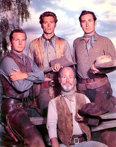 Rawhide cast! Gil Favor (Eric Flemming), Rowdy Yates (Clint Eastwood), Wishbone (Paul Brinegar) and Pete Nolan (Sheb Wooley).