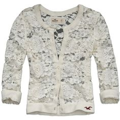 Hollister by Abercrombie Floral Lace El Morro Cardigan Ivory Off White Size S