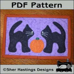 Black Cats Mug Rug - Halloween Mini Quilt | YouCanMakeThis.com