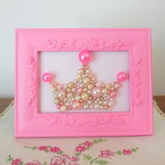 Pearl princess crown art. Mosaic wall art. Hot pink. Painted ornate rose frame. Shabby chic girls room. Sparkle glitter picture. on Etsy, $45.00......would be pretty easy to make this =)
